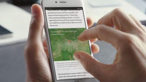 Det kan bakes inn interaktivt innhold som kart.