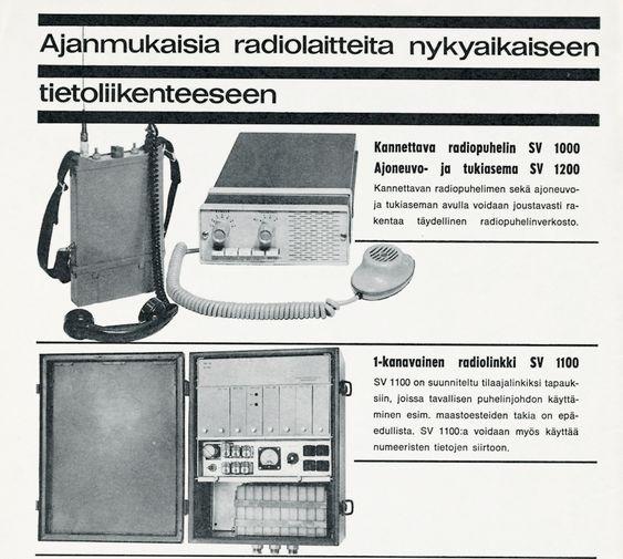 Annonse for radiotelefoni-enheter fra Nokia Electronics fra 1967.