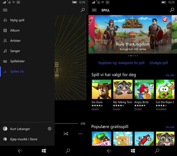 Lumia 950 XL er en super underholdningsmobil. Til venstre er musikk-appen, til høyre spillbutikken i Windows Store.