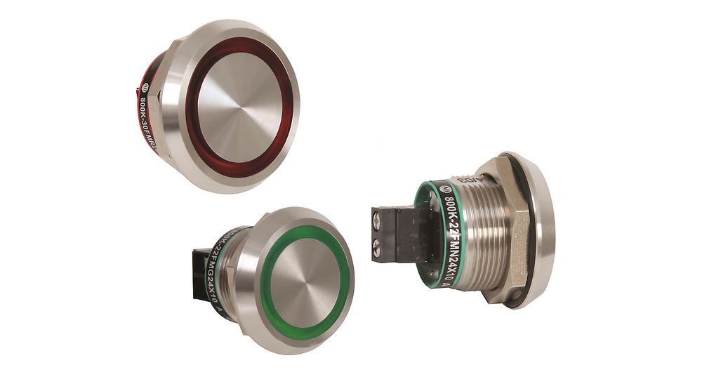 Piezoelektriske berøringsbryter IP69K i 800 K-serien fra Rockwell Automation, distribuert av Goodtech