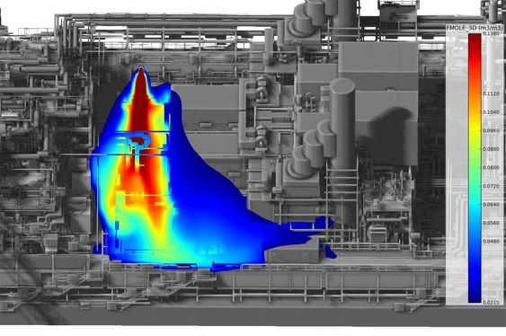 Terra Nova utenfor Canadas kyst. Produksjonsskip, M09 simulering av gasslekkasje