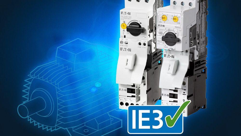 Eatons DIL-serie kontaktorer i tillegg til PKZ- og PKE-serien av motorvernbrytere passer for pålitelig drift av IE3-motorer