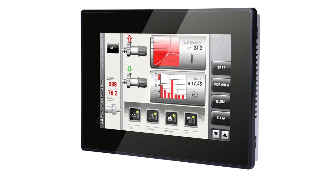 Terminalen har PCT-basert glass-Touch som tåler direkte høytrykkspyling. Modellen eTOP610 fra Exor, solgt av Autic