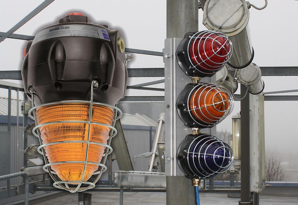 Blinkende signaltårn for Ex-sone 1, 2, 21 og 22, og som takler temperaturer fra -55 til 70 grader celsius.