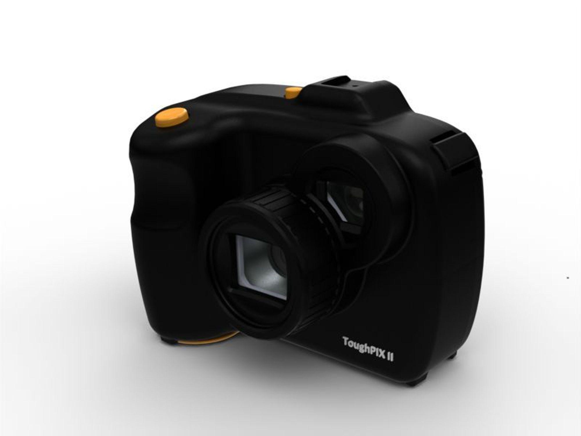 Ex-kamera med oppløsning på 16 megapiksel, 16 GB minne, 3x optisk zoom.