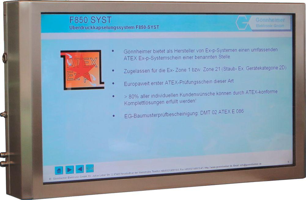 46 tommers skjerm for Ex sone 1 med purging av luft for overtrykk i kabinettet (Ex-p).