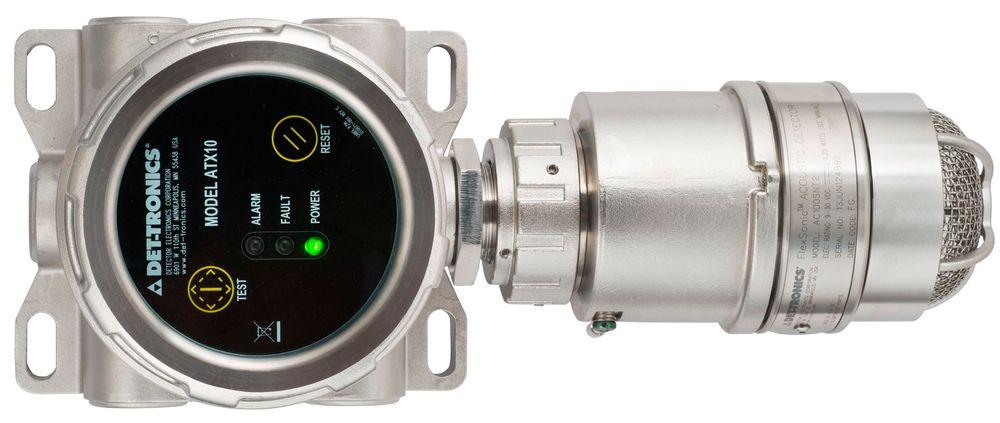 Akustisk gassdetektor som gjenkjenner frekvensbildet fra gasslekkasjer og undertrykker falske lydkilder.