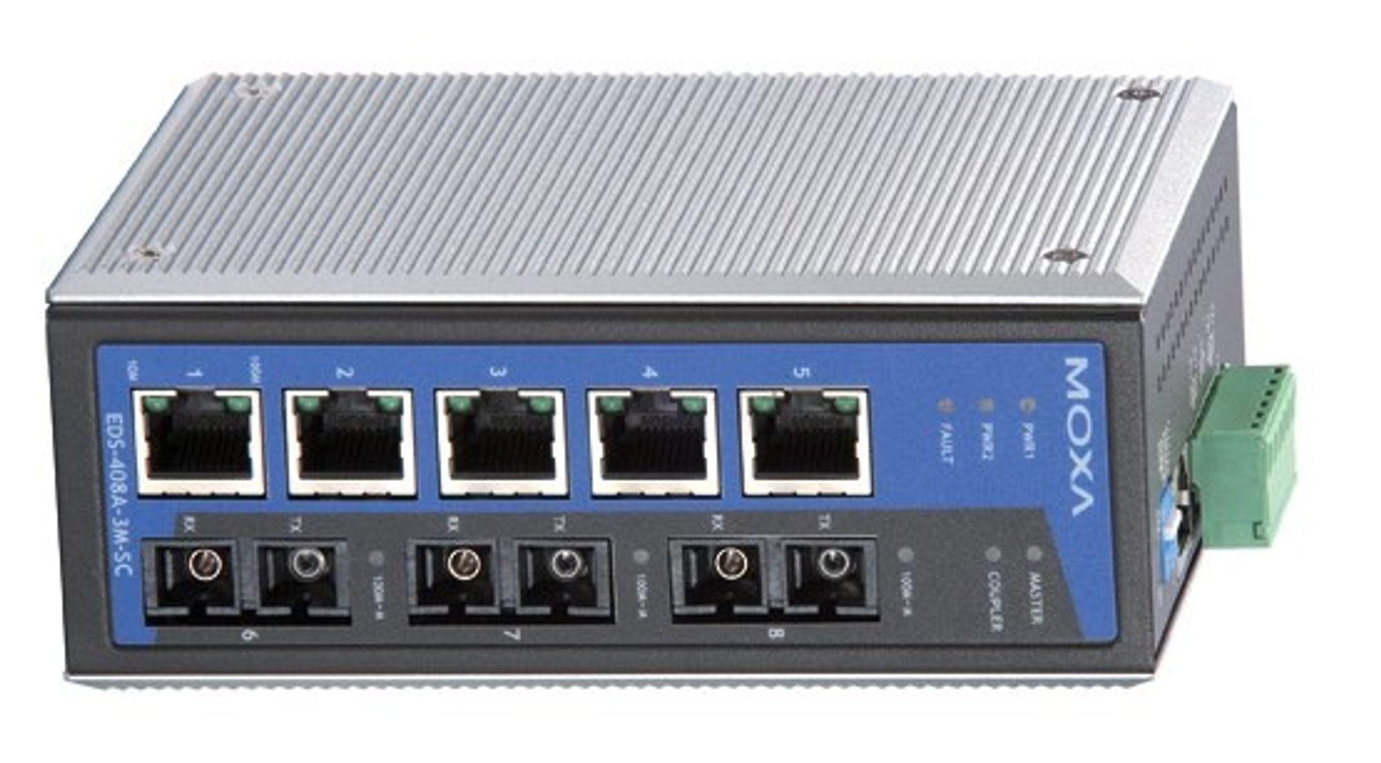 Switch i ATEX-sone 2 kan sende fibersignaler til sone 0 og 1 via en barriere.