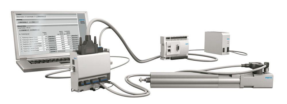 Festo har satt sammen ferdige pakkeløsninger for servosystemer, som kommer komplett med elektrisk sylinder, montert motor, motorkontroller og kabler.