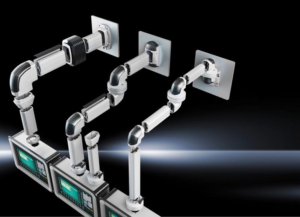 Fleksibelt bærearmsystem for skjermer og paneler, som du kan skreddersy med et interaktivt online-verktøy.