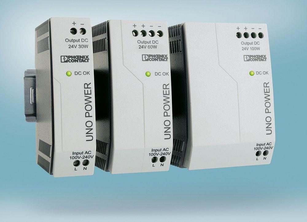 Smale strømforsyninger leverer inntil 100 W i 24 VDC eller 55 W i 12 VDC.