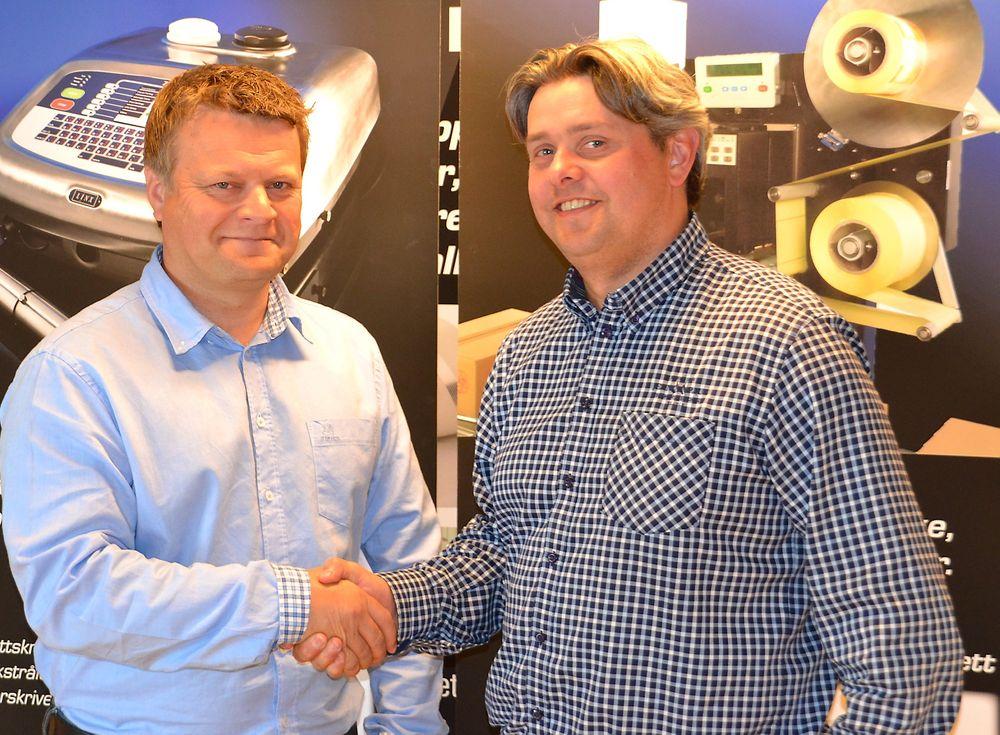 Erik Brandsrud (t.v.) er regionsansvarig hos ACT Logimark på Sørlandet, her sammen med salgssjef Espen Øverbø.