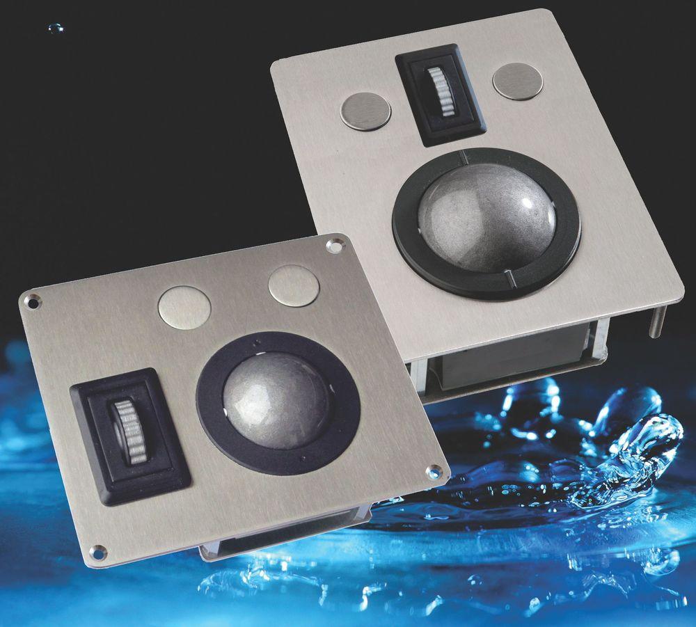 Rulleballer med integrert skrollehjul i IP68 rustfritt stål og USB eller PS/2 grensesnitt.