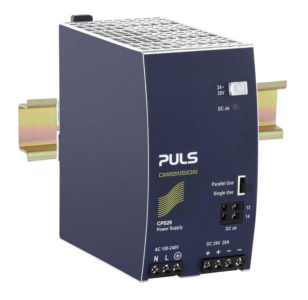 20 A strømforsyning som kun fyller 65 mm i bredden.