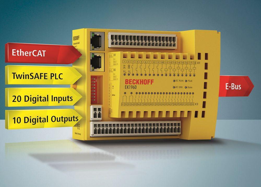 Integrert sikkerhetskontroller med 20 DI og 10 DO, og superkjapp kommunikasjon over EtherCAT.