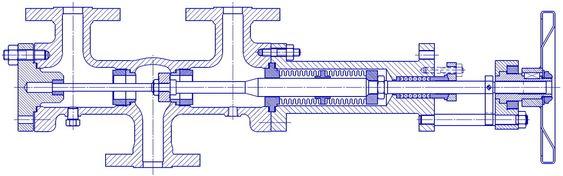 Snittegning av Change Over ventil med belgtetning.