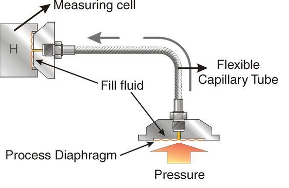 Diaphragm Seal: Prosesstrykket (Pressure) overføres via oljen i kapilærrøret (Capillary Tube) til sensoren (Measuring Cell).