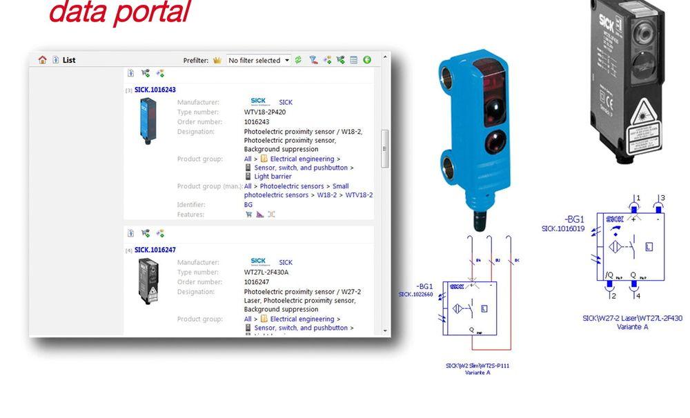 Eplans dataportal inneholder nå komponenter fra Saia-Burgess og Sick (bildet).