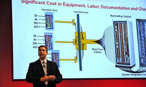 Jason Urso, teknisk sjef i Honeywell Process Solutions, presenterer et eksempel med softwarekonfigurerbare signalgrensesnitt.