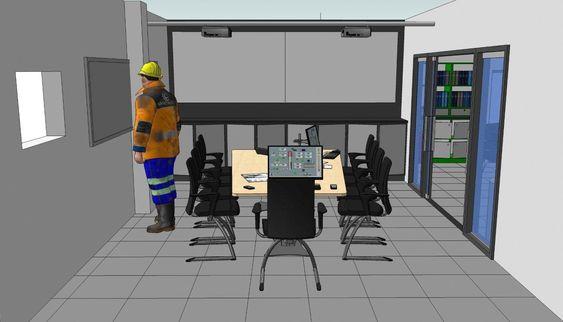 Et samarbeidsrom blir plassert vegg i vegg med kontrollrommet, også her blir det projektor med RLS (remote light source).