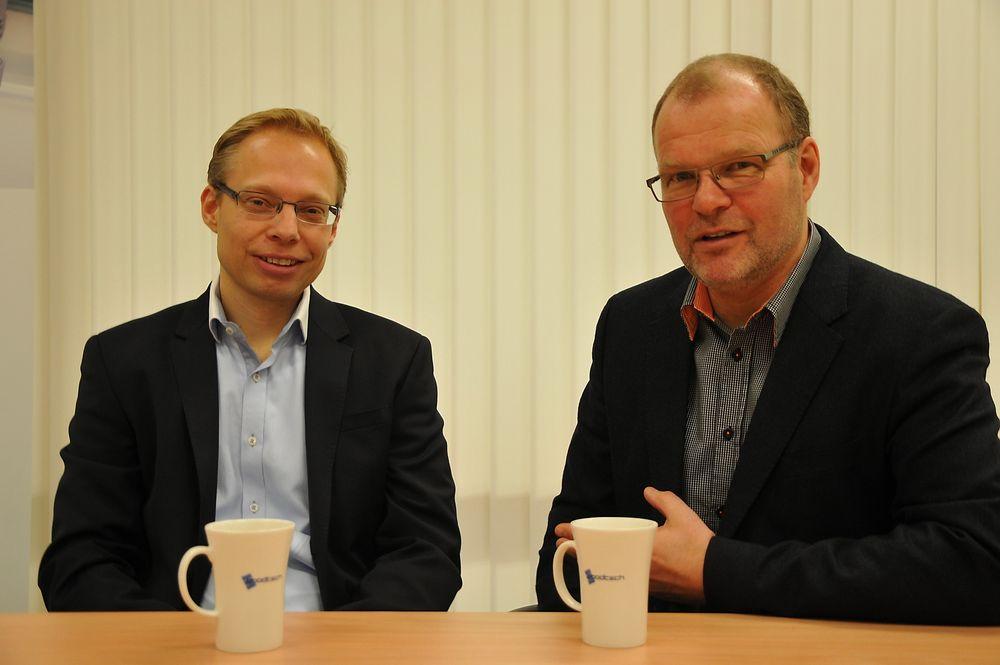 Eiliv Elvebakk (t.v.) er ny direktør i Goodtech Products. Arve Teie har overtatt som markedsdirektør for hele Goodtech-konsernet.