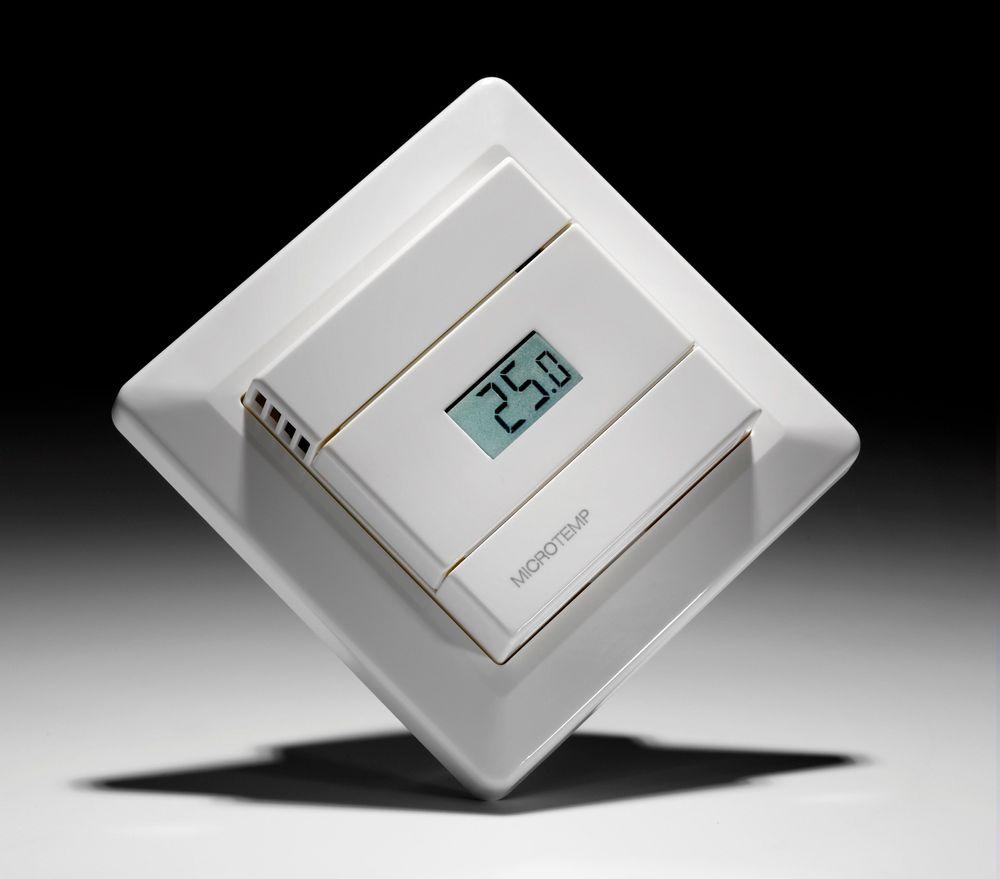 Gulvfølertermostat med regulatorfunksjonalitet og inntil to følere, for å unngå overoppheting eller for kalde gulv.