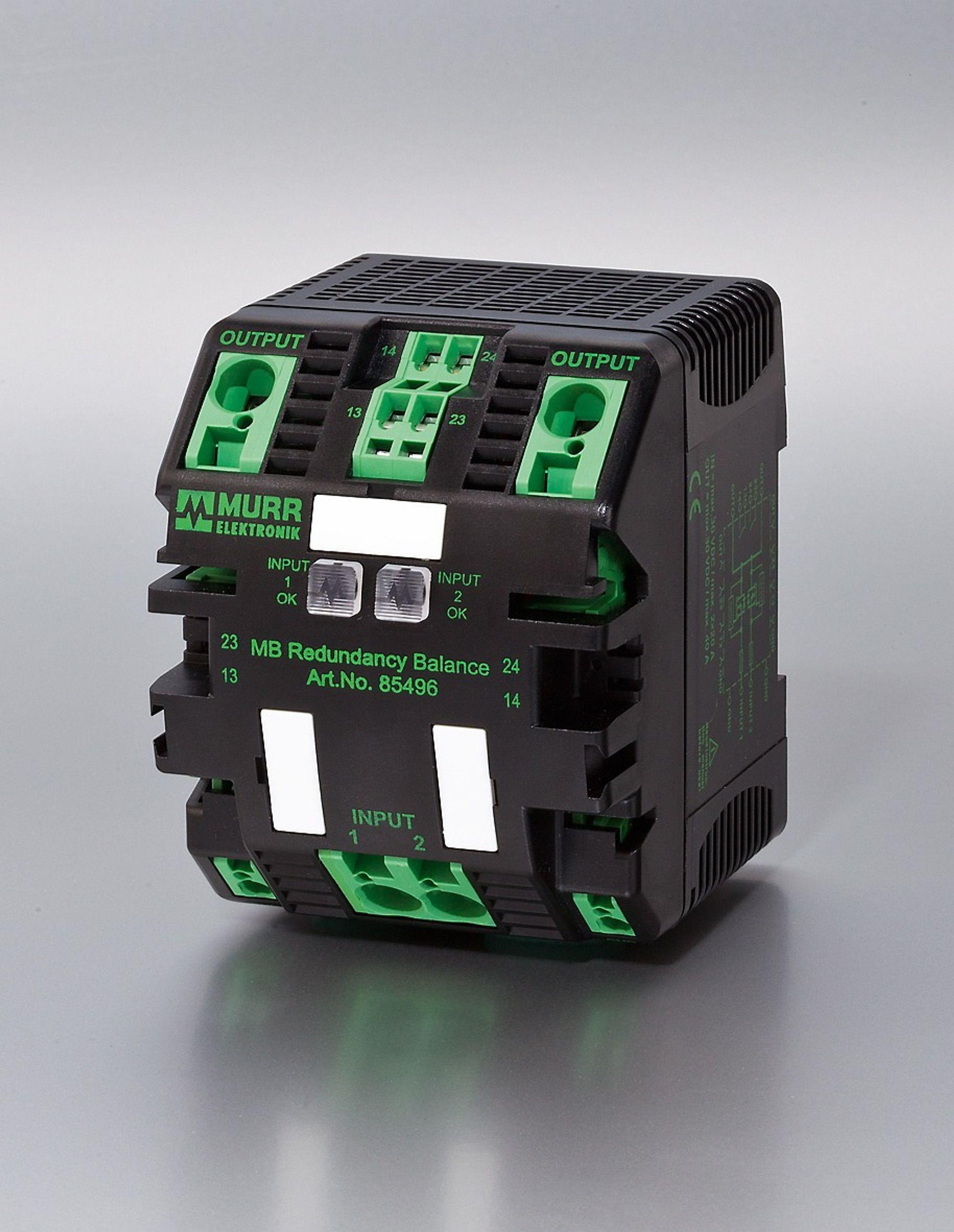 Redundansmodul som håndterer inntil 20 A 24 VDC-forsyninger, og som balanserer mellom dem når begge kjører. Om den ene feiler hentes all kremen fra den andre.