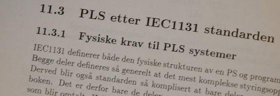 Sammentreff: Faksimile fra professor Liens bok om digital styring, hvor kapittelet om programmeringsspråket IEC1131 ved en tilfeldighet har fått nummer 11.3.1.