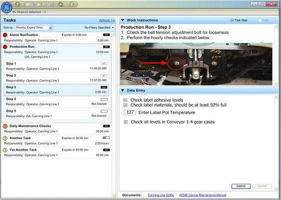 """Eksempel på et operatørbilde i Proficy Workflow. Operatøren blir guidet """"steg for steg"""" igjennom en omstilling. Ulike parametre og kvitteringer, for utført operasjon, kan også registreres direkte i systemet."""