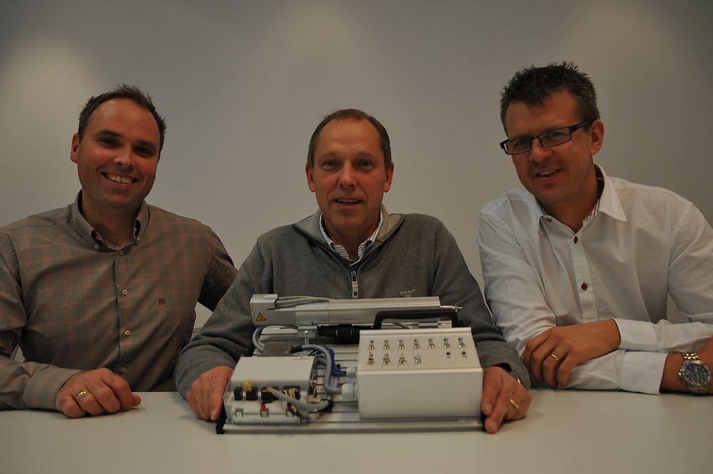 Stolt trio med et nytt konsept for elektriske akser, salgssjef Arild Johansen, løsningsansvarlig Ivar Sørlie og produktsjef Thor Hebnes.