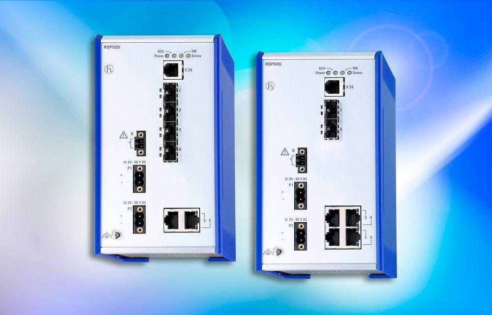 Switch med konfigurerbare porter og flust med redundansprotokoller.
