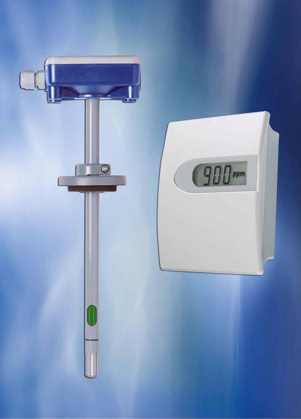 CO2-giver for bruk i bygninger med automatisk kalibreringssystem for langtidsstabilitet.