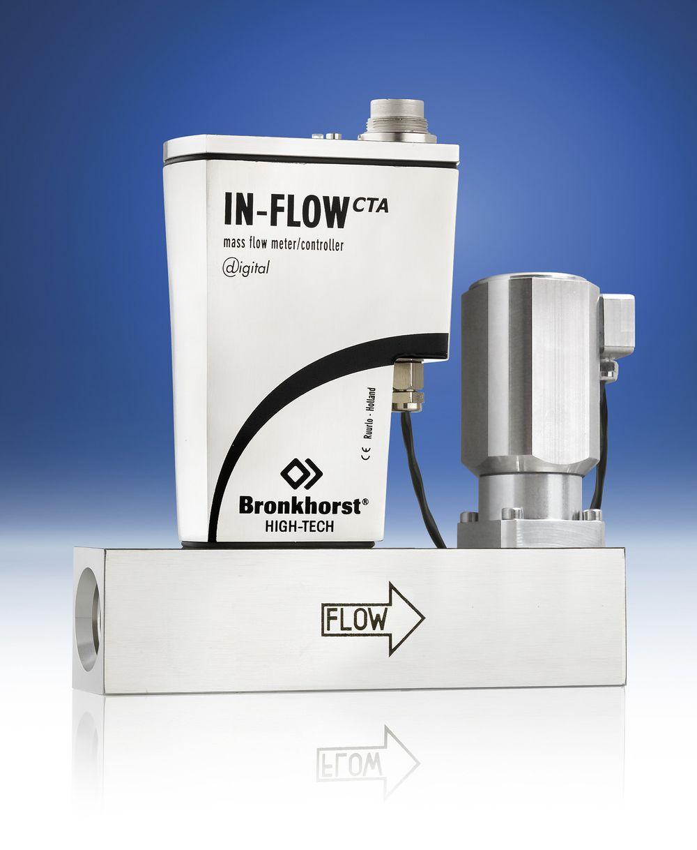 Kompakt masseflow-kontroller med integrert reguleringsventil men ingen bevegelige deler eller hindringer.