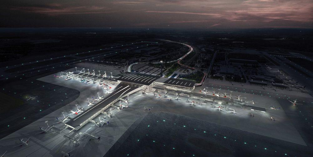 Når den nye terminalen, som peker mot nederste venstre hjørne i bildet, åpner i 2017 vil det være mer enn 400 nye kameraer på plass.