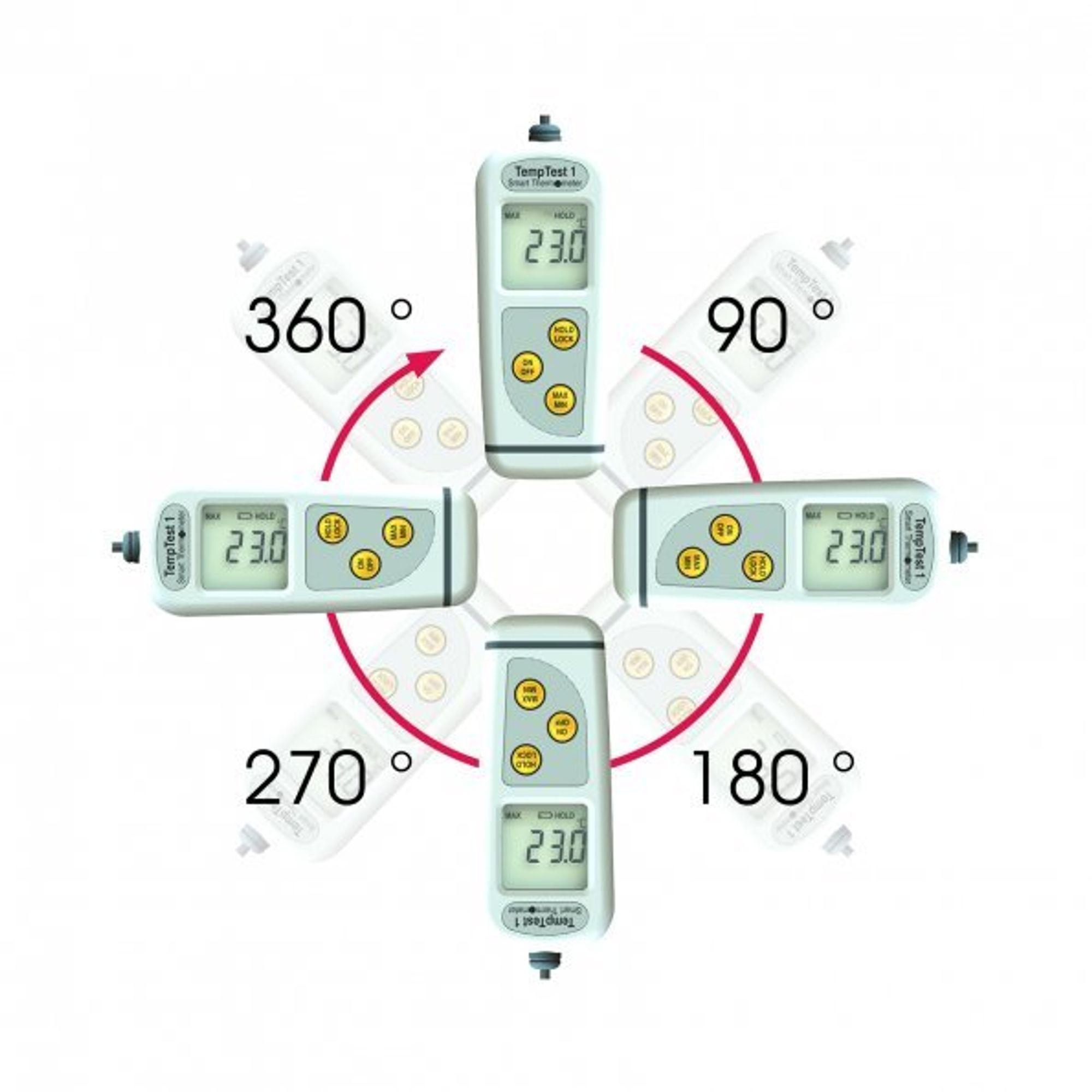 Termometer som roterer displayet avhengig av posisjon.