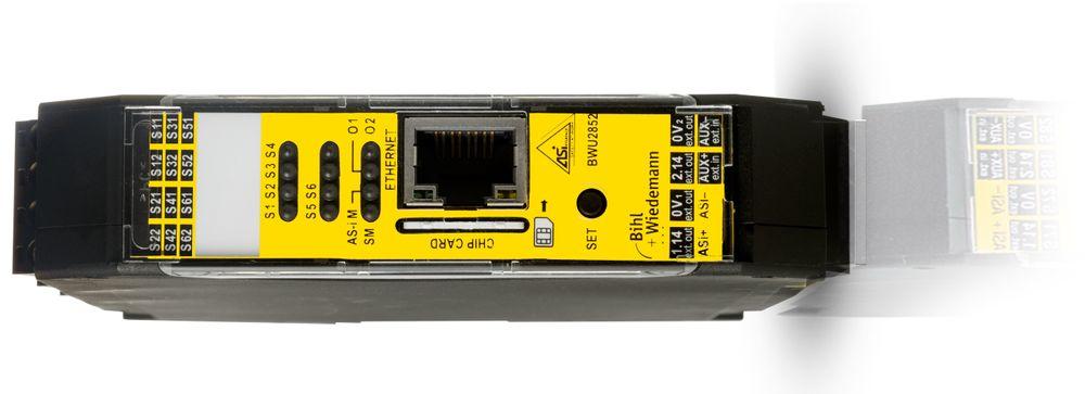 Sikkerhetsmonitor for AS-Interface (ASI) med Ethernet-grensesnitt som gir mulighet for utveksling av sikkerhetsinformasjon mellom inntil 31 nettverk.