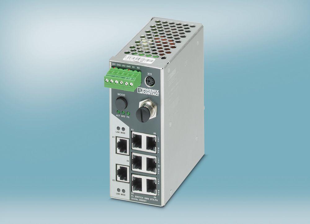 Smal Profinet/Ethernet/IP-switch byr på automatiske topologigjenkjennelse (LLDP) og redundansmekanismen MRP.