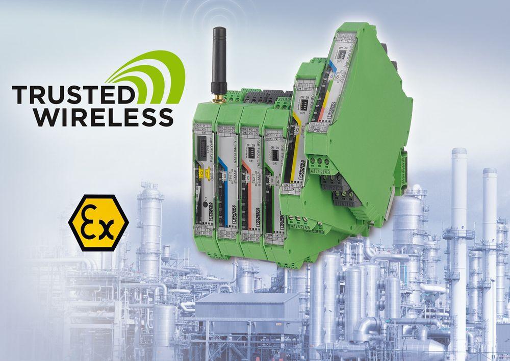Trådløs modul for fire PT100-signaler i Phoenix Contacts Radioline.
