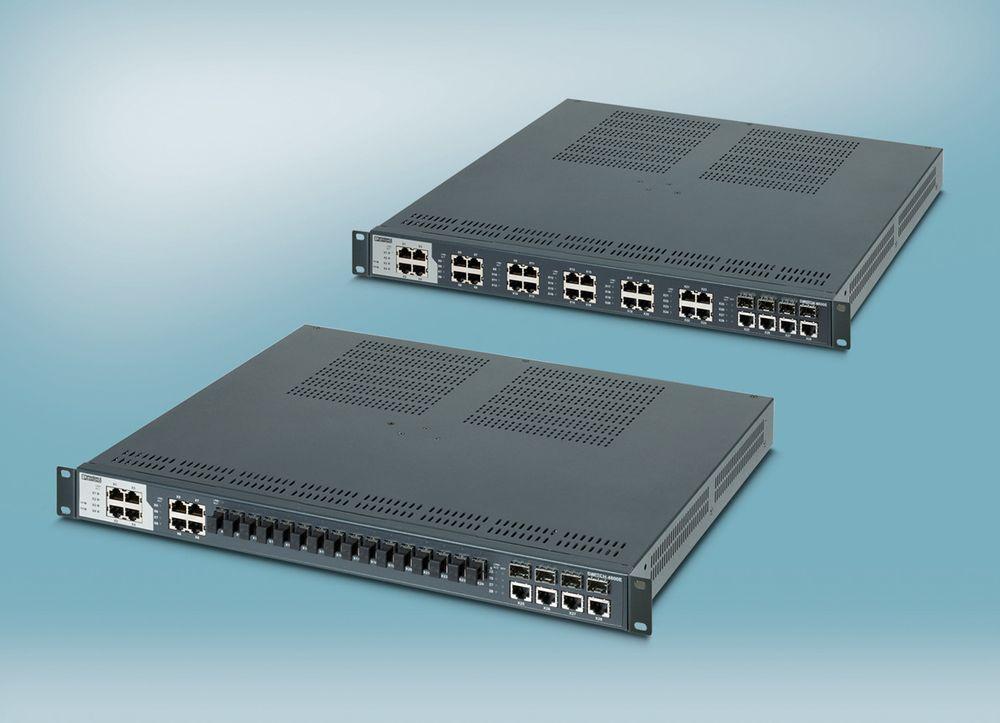 Kompakt 28-porters Ethernet-switch for 19-tommers skap med industrielle spesifikasjoner.