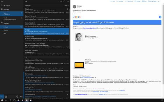 Outlook tar seg godt ut på stor skjerm.