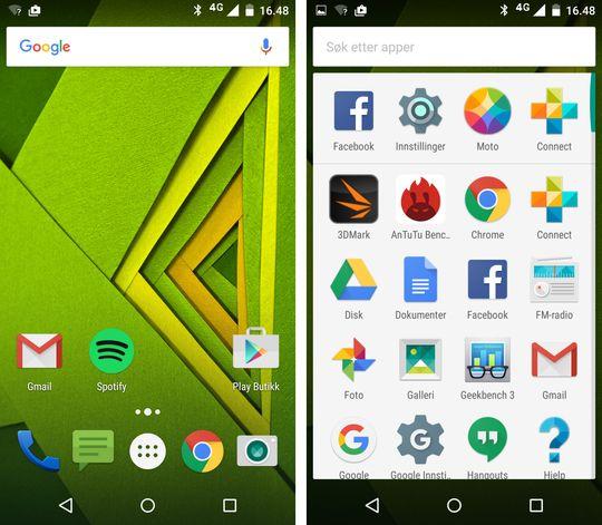 Slik ser hjemmeskjermen og appmenyen på Moto X Play ut. Det er generelt lite fiksfakseri her, og alt ligger veldig nærme en ren Android-opplevelse.