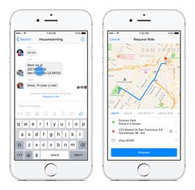 En Uber-bil kan bestilles ved å klikke på adresser i chatten.