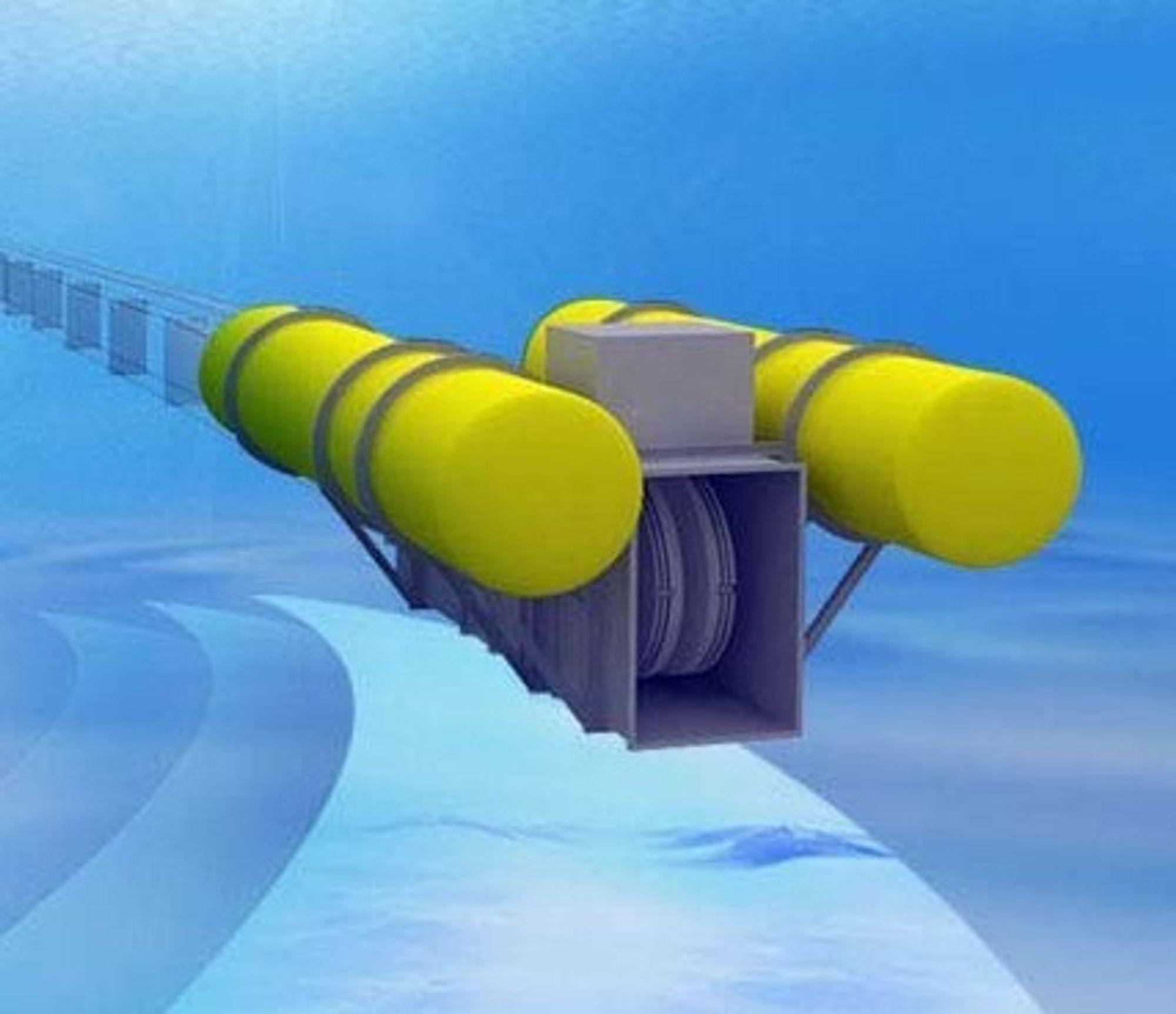TIDEVANNSKRAFT: Den norske teknologien fra Tidal Sails går ut på å plassere store seil nede i sjøen.