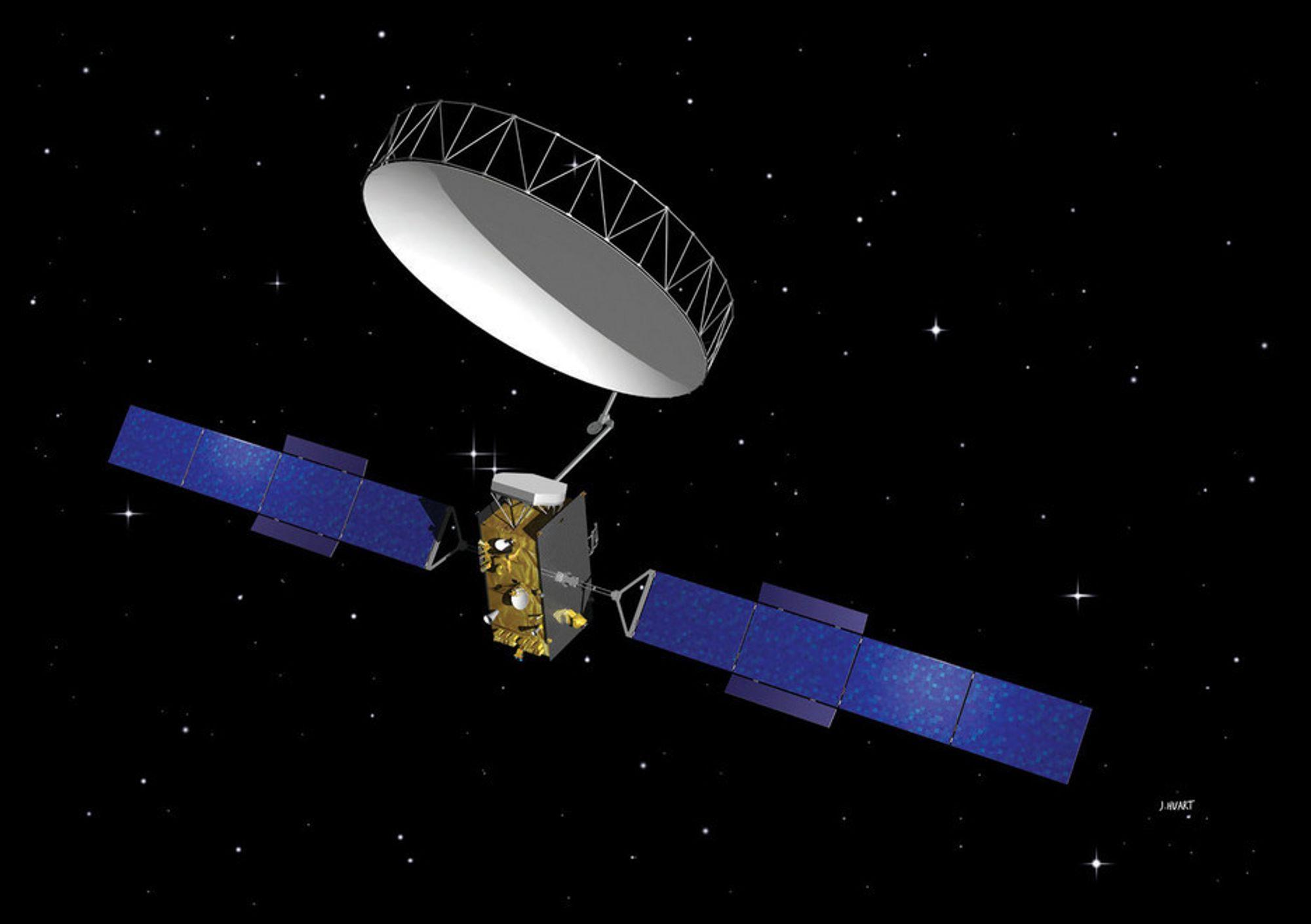 Tegning av Alphasat-satellitten, som Astrium skal bygge med utstyr fra Norspace.