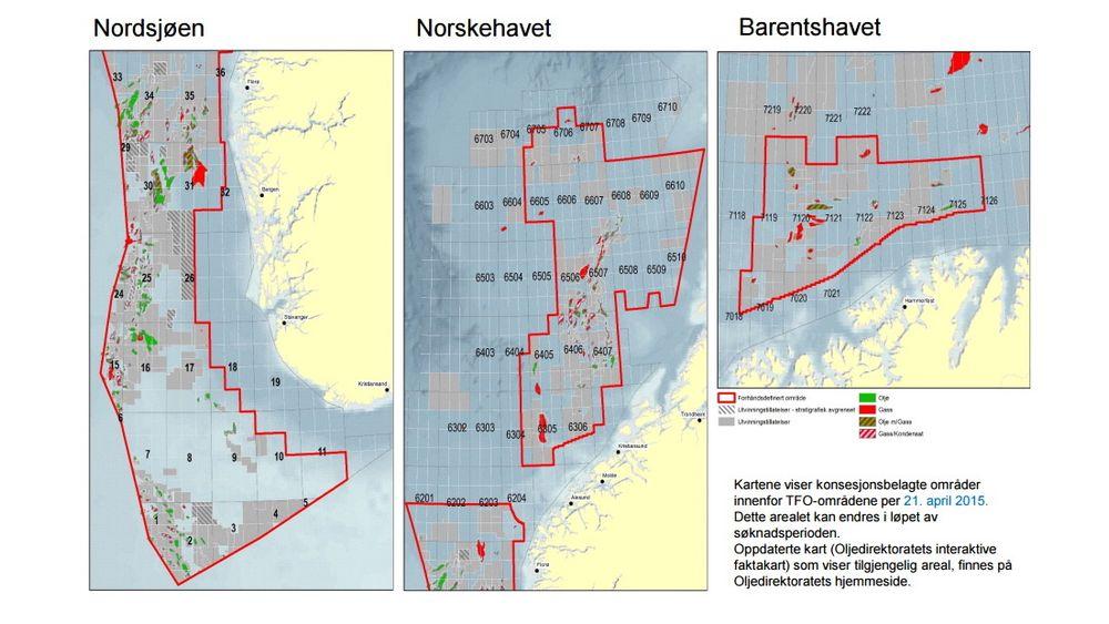 Dette kartet viser de konsesjonsbelagte områdene innenfor TFO-områdene per 21. april 2015.