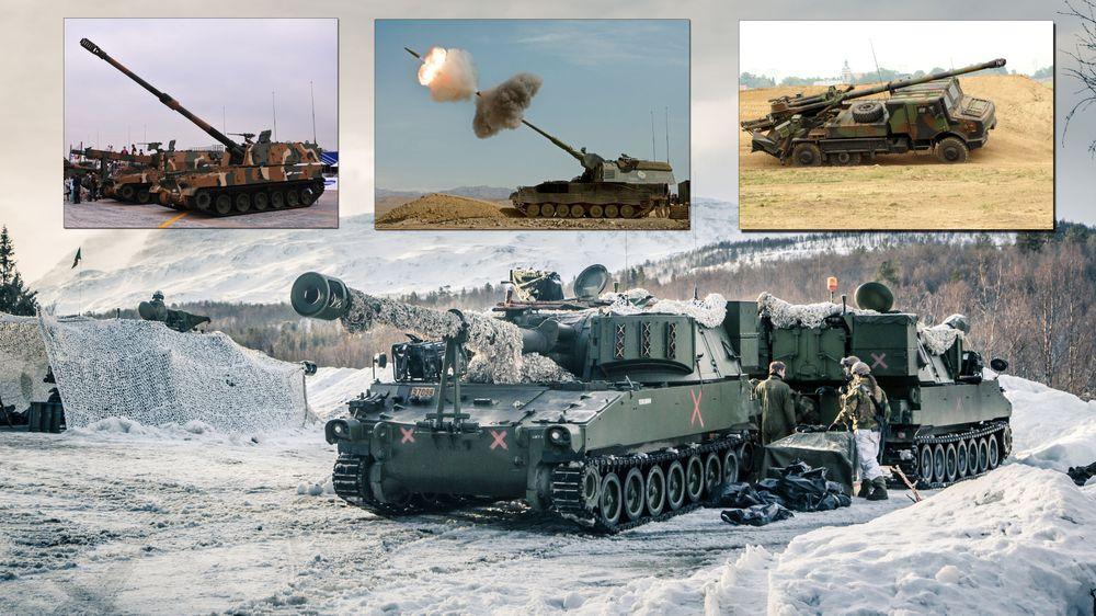 Det er fire konkurrenter i den norske artillerianskaffelsen: En oppgradert versjon av M109 som Norge benytter i dag (store bildet), K9 Thunder (f.v), Panzerhaubitze 2000 og Caesar. Foto: Forsvaret/wikimedia