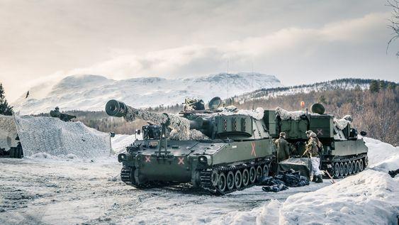 M109 artillerivogn ved Setermoen under Cold Response 2014.