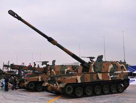 Det koreanske artilleriet K9 Thunder fra Samsung.