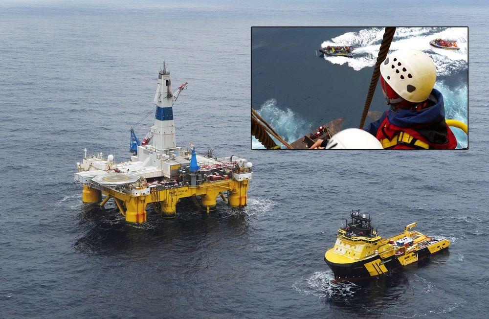Riggen Polar Pioneer fotografert da den boret for Statoil på Skrugard-feltet i Barenshavet.