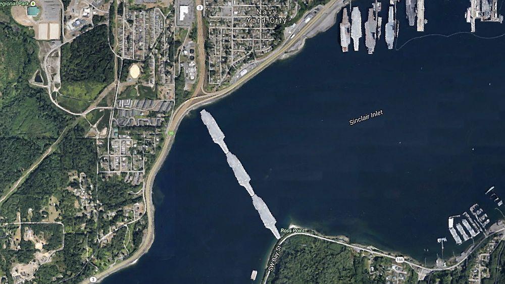 Tre utrangerte hangarskip ville være lange nok til å lage bru hele veien mellom byene Bremerton og Port Orchard i den amerikanske delstaten Washington.